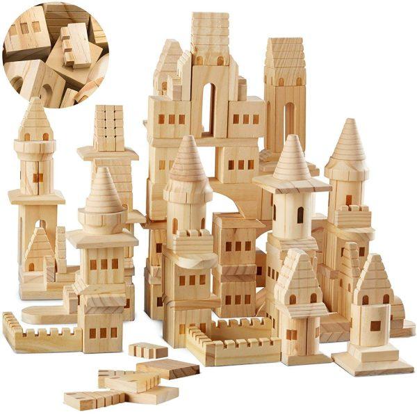 {150 Piece Set} Wooden Castle Building Blocks Set