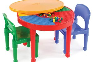 Kids 2-in-1 Plastic Building Blocks-Compatible Activity Table Set